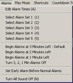 Clock Menu Alarms